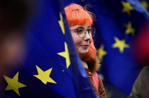 Manifestante pro Unión Europea