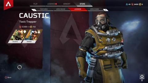 "Caustic and Mirage were the first two unlockable characters in ""Apex Legends."" Both could be purchased with Apex Coins or with earned in-game currency."