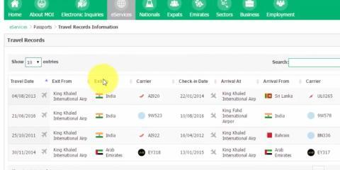 [RE] Lista de viajes que ha llevado a cabo el titular de un pasaporte, tal y como se ve en el sistema Absher.