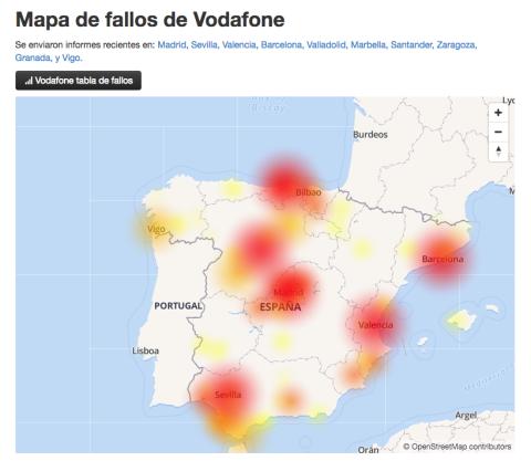 Mapa de fallos de conexión de internet de Vodafone.