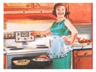 Cartel de los años 50 con una mujer en la cocina.