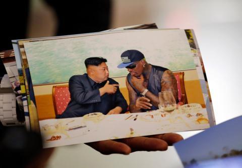 Kim Jong Un, líder de Corea del Norte, y Dennis Rodman, exjugador de la NBA