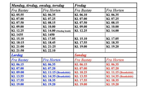 Los horarios del ferry a la isla de Bastoy
