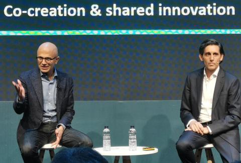 Satya Nadella, CEO de Microsoft, y José María Álvarez-Pallete, presidente ejecutivo de Telefónica.