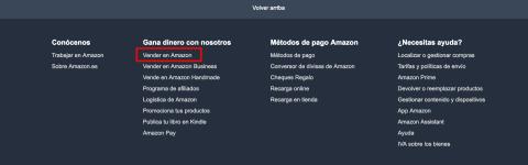 """Busca """"Vender en Amazon"""" al final de la página de inicio de Amazon."""