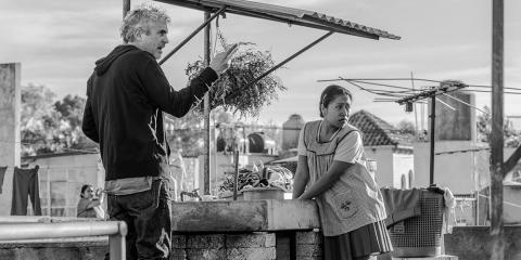 "Alfonso Cuarón on the set of ""Roma."""