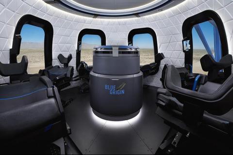 Un vistazo al diseño final de la cápsula New Shepard de Blue Origin para turistas espaciales suborbitales.