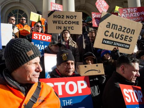 Amazon workers on both sides of the Atlantic are protesting on Prime Day.