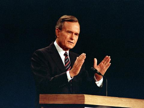 Appearing without his trademark glasses, then-Vice President George H.W. Bush answered a question at the second presidential debate in October 1988.