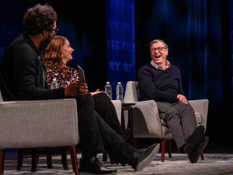 Bill Gates, Melinda Gates, and W. Kamau Bell at the 92 Street Y on February 12.