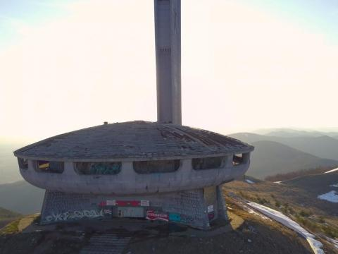 The Bulgarian Communist Party built a monstrous headquarters on top of a mountain in 1981, and it resembles a flying saucer.