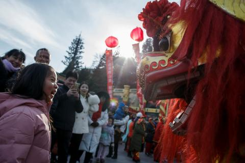 Celebraciones del festival del año nuevo Lunar en Pekín (China) en febrero de 2018.