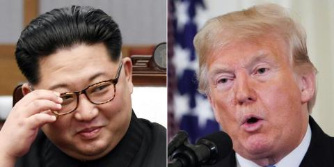 Una imagen compuesta de Kim y Trump.