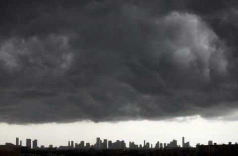 Dark clouds over downtown Miami.