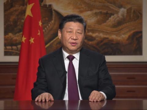 El presidente chino Xi Jinping pronuncia su discurso de Año Nuevo 2019.