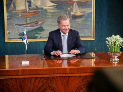 El presidente finlandés, Sauli Niinistö, da su discurso de Año Nuevo 2019.