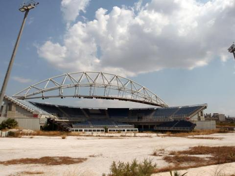 Even the volleyball court — built specifically for the Olympics — lies in ruins.