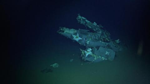 An F4F Wildcat aircraft with its wings folded was discovered with the wreckage of the USS Hornet.