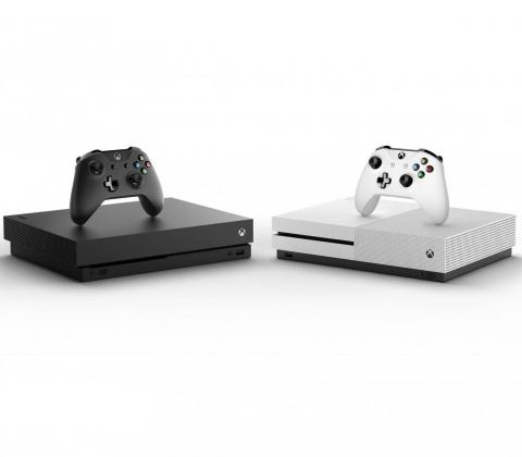 Microsoft currently offers two versions of its console, the Xbox One X, left, and the Xbox One S.