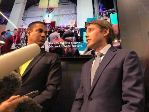 FCC chairman Ajit Pai and Robert Strayer, US deputy assistant secretary for cyber and international communications and information policy, speaking to reporters at Mobile World Congress 2019.