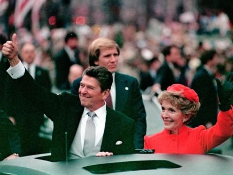 Former President Ronald Reagan and first lady Nancy Reagan greeted fans lined up in Washington at his first inauguration in January 1981. Though he was 69, his movie star appearance held up.