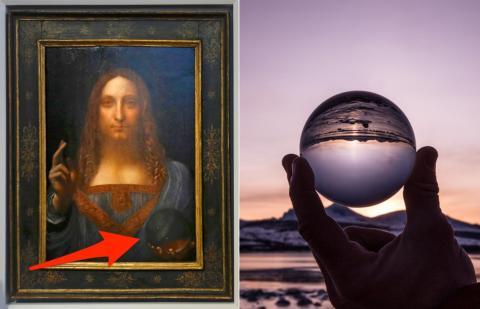 La esfera de vidrio en la foto (izquierda) versus una esfera de vidrio real.