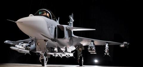 The Gripen E series fully armed.