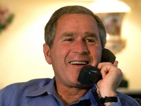 Here's George W. Bush making a phone call shortly after the 2000 election.