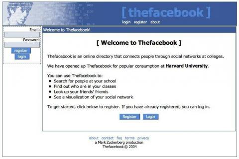 """Here's what the original Facebook — sorry, """"The"""" Facebook — layout looked like when it launched in 2004."""