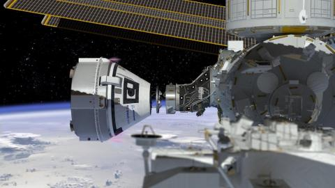 An illustration of Boeing's CST-100 Starliner docking to the International Space Station.