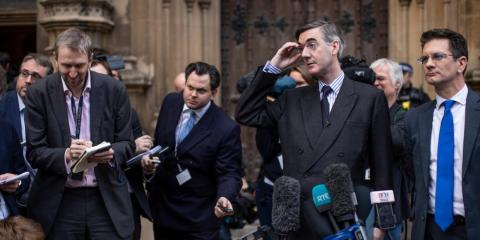 Jacob Rees-Mogg speaks to the media after submitting a letter of no confidence in Prime Minister Teresa May on November 15, 2018 in London, England.