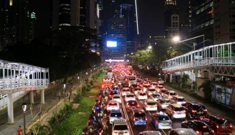Jakarta's traffic jams at rush hour are among the worst in the world.