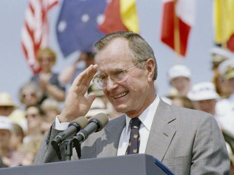 By June 1992, as Bush addressed a crowd of veterans during a ceremony at the Korean War Memorial, several months before losing the presidential election, he looked older.