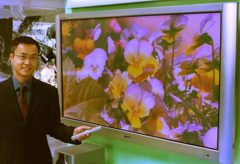 In this 2002 photo, Steven Yu Kam-hon, former Hong Kong General Manager of Samsung Electronics, shows off the company's LCD TV.