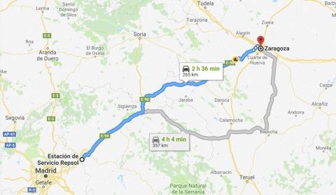 Distancia por carretera entre Madrid y Zaragoza | Captura de Google Maps