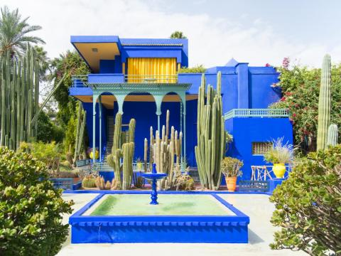The Majorelle Gardens in Marrakech, a landscape garden designed and cultivated by French artist Jacques Majorelle and later bought and restored by designer Yves Saint Laurent, is considered the top tourist destination in all of