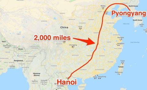 Ruta del viaje en tren de Kim Jong-Un hasta Hanoi
