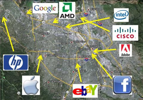 Mapa de Silicon Valley