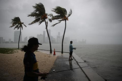 Miami residents fish during Tropical Storm Gordon on September 3, 2018.