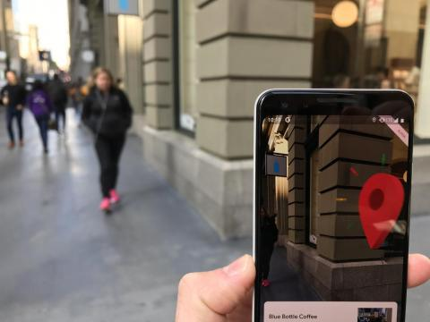 Once you arrive at your destination, a pin-drop will appear with a fun animation to accompany it. Since we were heading to grab a coffee, Google Maps also pulled up information about Blue Bottle in case we wanted to check out