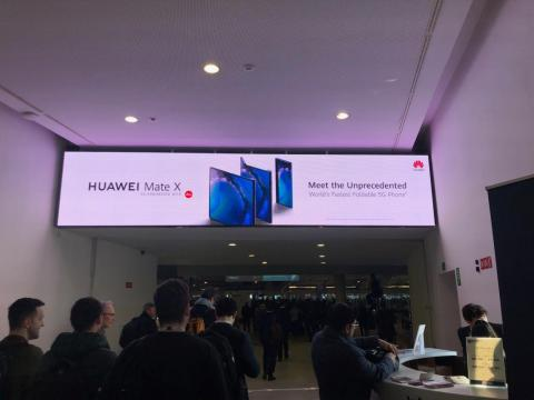 One of many Huawei banners at Mobile World Congress in Barcelona, where the Chinese firm has a substantial presence.