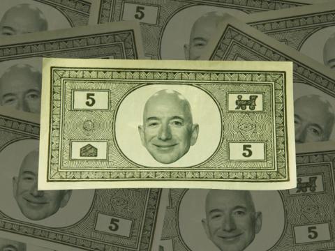 Un trabajador de Amazon cuenta a BI que utilizan billetes con la cara de Bezos. Así es como se los imagina un artista.