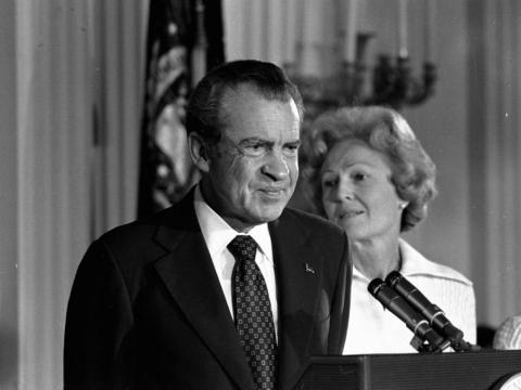 Plagued by the Watergate scandal, a glassy-eyed Nixon delivered a final speech for White House staff and members of his Cabinet in 1974.