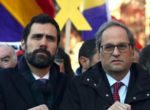 Roger Torrent, presidente del Parlament de Cataluña, y Quim Torra, presidente de la Generalitat