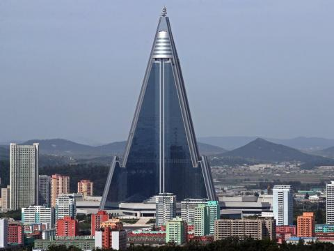 Ryugyong Hotel's exterior was completed in 2011.