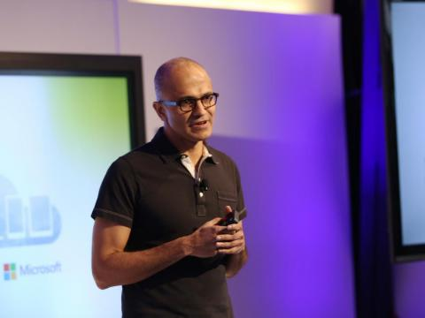 Nadella at his first major public appearance in 2014 after being named CEO of Microsoft.
