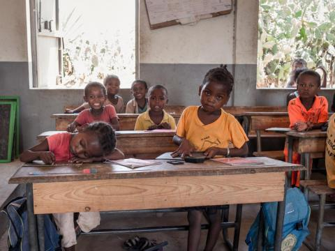 Schoolchildren in Madagascar attend a class after lunch, offered by the World Food Program's Undernutrition Prevention Program, in December.
