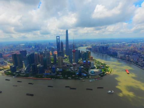 An aerial view of Shanghai, China, in 2016.