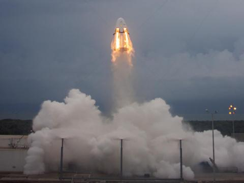SpaceX's Crew Dragon capsule during a launch pad abort test in Florida on May 6, 2016.
