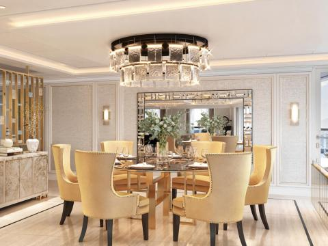 The suite's interior will measure over 3,000 square-feet and feature Italian marble and golden chandeliers.